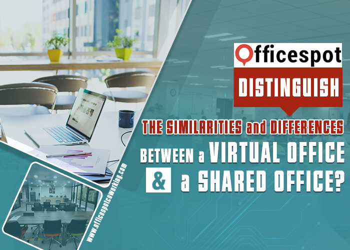Distinguish the similarities and differences between a virtual office and a shared office?